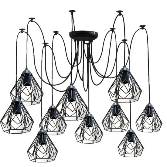 Люстра паук на десять плафонов MSK Electric Milan NL 538-10