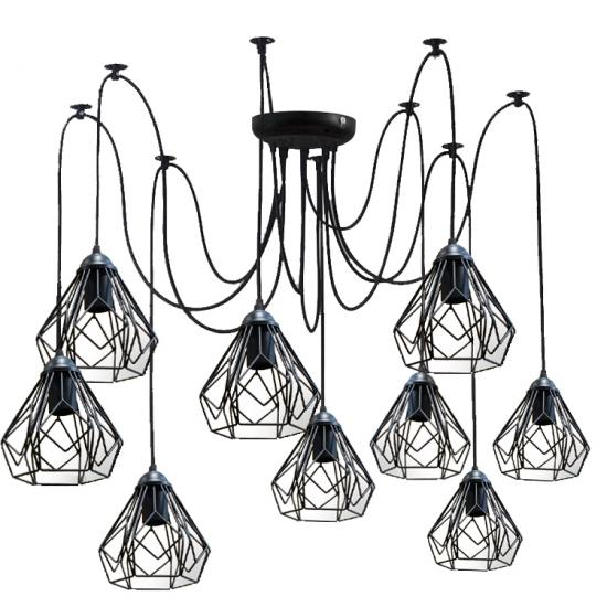 Люстра паук на девять плафонов MSK Electric Milan NL 538-9