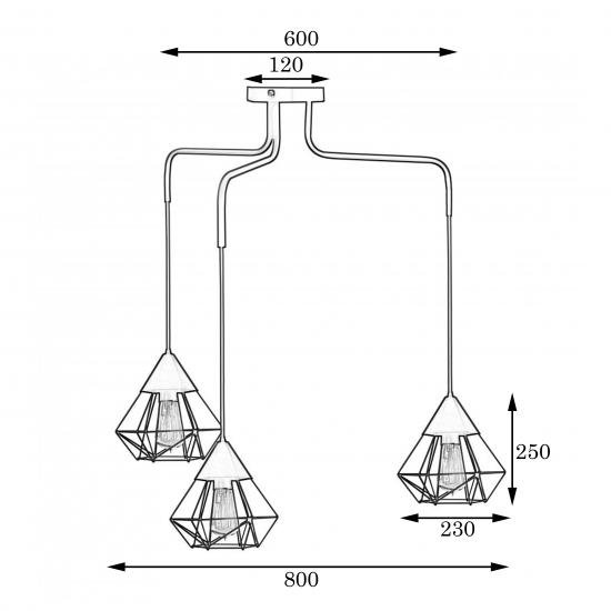Люстра подвесная MSK Electric Crystal в стиле лофт на три плафона NL 10535-3
