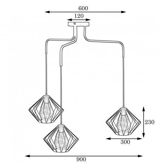 Люстра підвісна в стилі лофт на три плафони MSK Electric Rhombus NL 13023-3