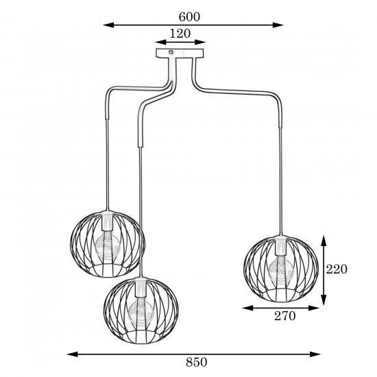 Люстра подвесная в стиле лофт на три плафона MSK Electric Globe NL 12722-3