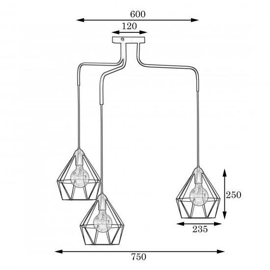 Люстра підвісна в стилі лофт на три плафони MSK Electric NL 10537-3